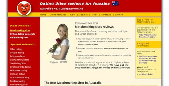 Screenshot of DatingSitesReviews.com.au