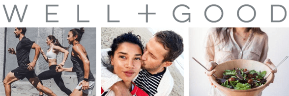 Collage of the Well+Good logo, joggers, a couple, and a woman holding a salad