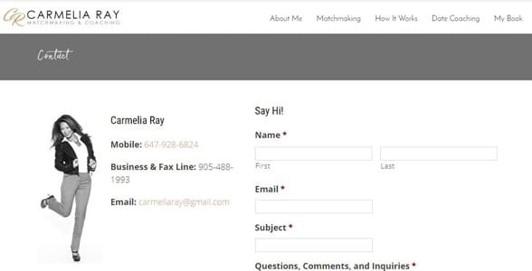 Screenshot of Carmelia Ray's matchmaking application form