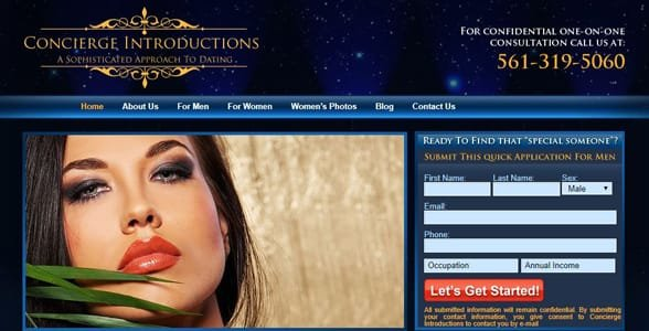 Screenshot of Concierge Introductions' homepage