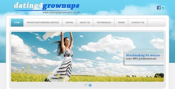 Screenshot of the Dating4grownups homepage