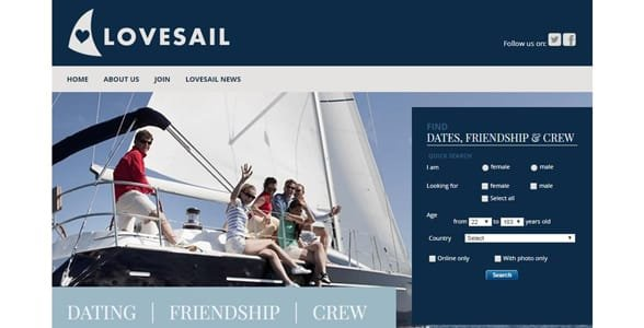 Screenshot of Lovesail's homepage