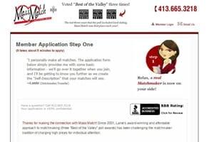 Screenshot of Mass Match's online application form