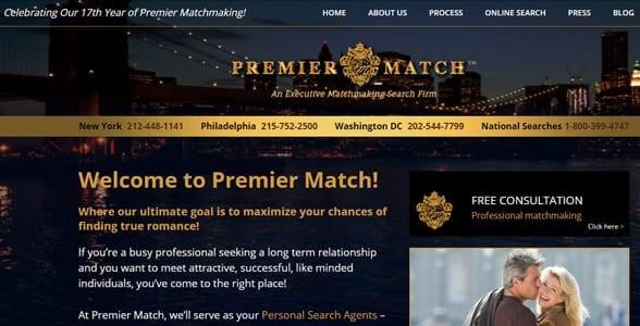 Screenshot of Premier Match's homepage