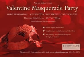Photo of Elect Club's invitation to the Valentine Masquerade Party in 2017