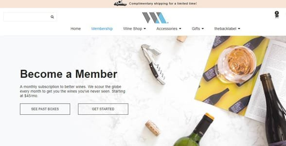 Screenshot of Wine Awesomeness' website