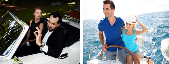 Collage of couples in a luxury car and sailboat