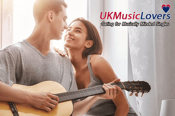 Photo of a man playing guitar staring into the eyes of a woman and the UK Music Lovers logo