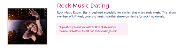 Screenshot of UK Music Lovers rock site