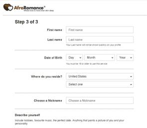 Photo of the AfroRomance registration process