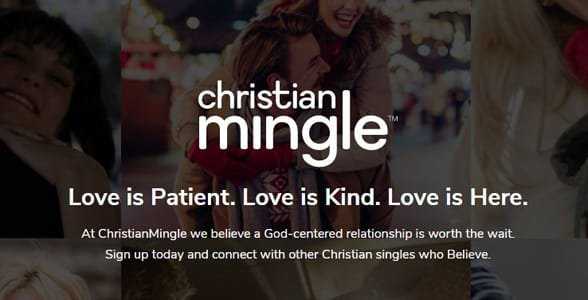 Screenshot of Christian Mingle's homepage
