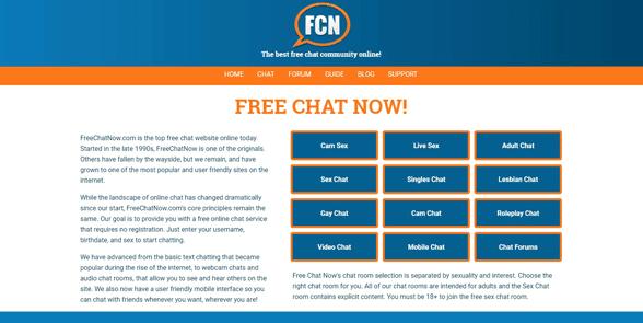 Screenshot of the FreeChatNow homepage