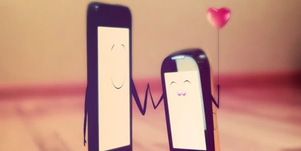 Photo of two phones and a heart
