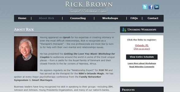 Screenshot of Rick Brown's website