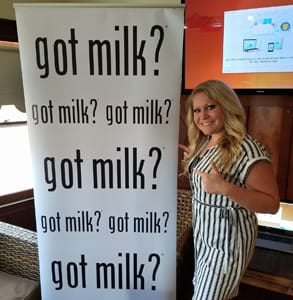 Photo of Jenn B. with a Got Milk? sign