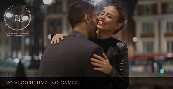 Photo of a couple, the Project 143 logo, and the text No Algorithms. No Games