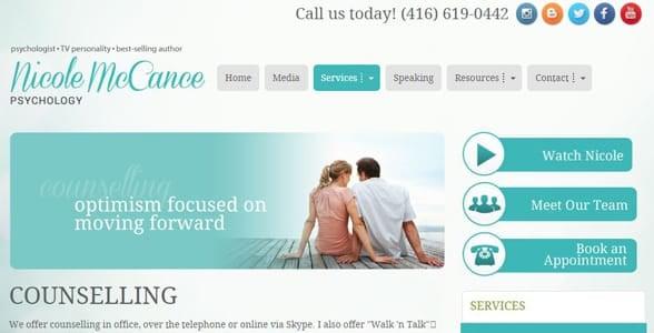 Screenshot of Nicole McCance's website