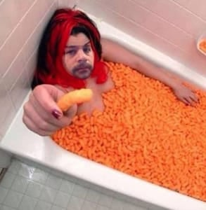 Photo of Tinder user Matt in a Cheetos bath