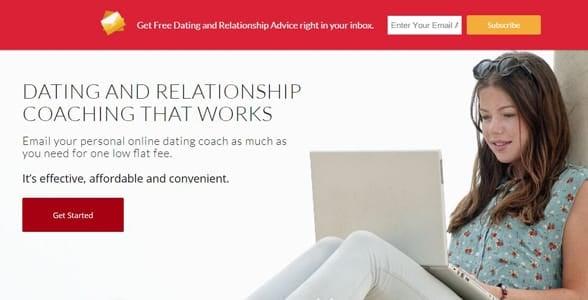 Screenshot of DatingCoachSOS' homepage