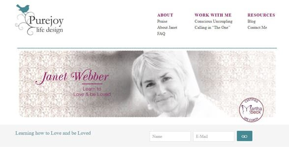 Screenshot of Janet Webber's website