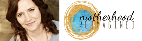 Sarah Kowalski's headshot and the Motherhood Reimagined logo
