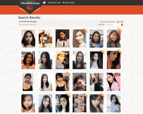 Screenshot of the ThaiFlirting search page