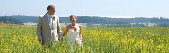 Photo of a couple getting married in the San Juan Islands