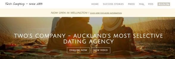 Screenshot of Two's Company's homepage