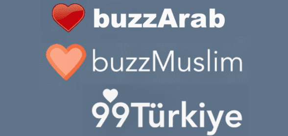 Photo of the buzzArab, buzzMuslim, and 99Turkiye logos