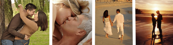 Collage of couples embracing, kissing, and holding hands