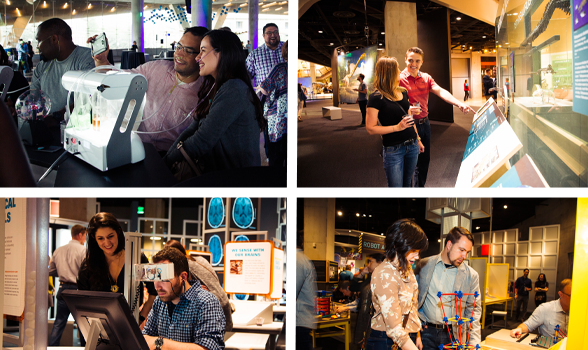 Photos of couples interacting at the Perot Museum