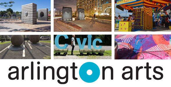 Collage of public art installations and the Arlington Arts logo
