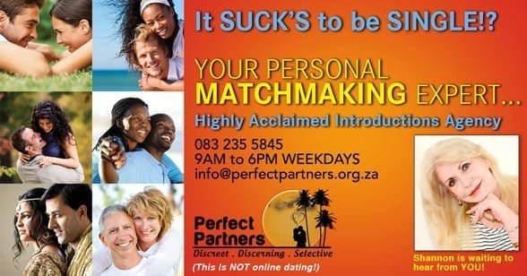 Promotional graphic highlighting matchmaking services at Perfect Partners