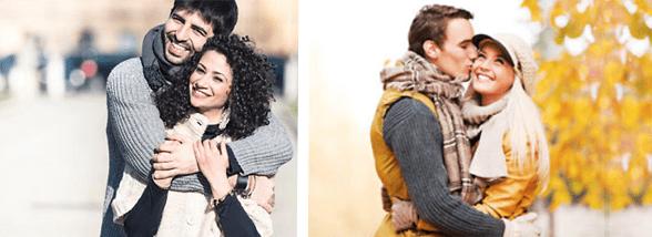 Photos of couples embracing