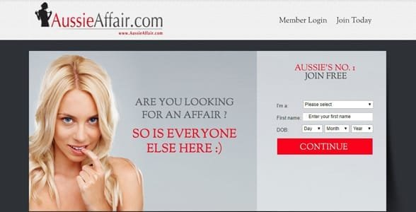 Screenshot of AussieAffair.com