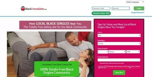 Screenshot of BlackFriendsDate.com