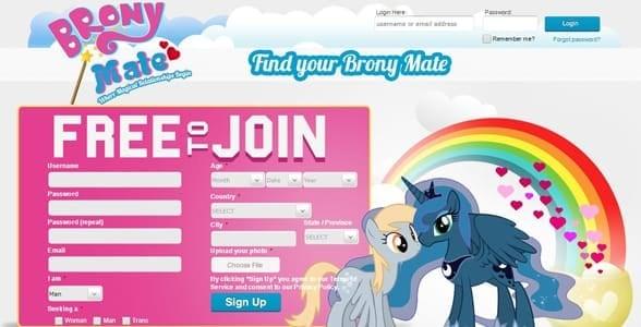 Screenshot of BronyMate's homepage