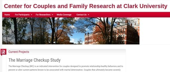 Screenshot from the Center for Couples and Family Research at Clark University