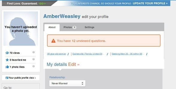 Screenshot from Match.com's edit profile page