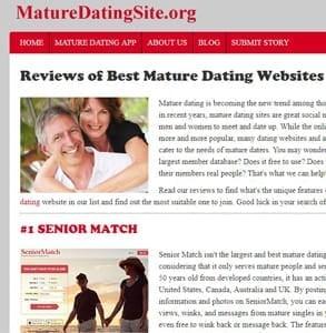 Screenshot of the MatureDatingSite.org homepage