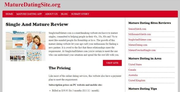 Screenshot of a MatureDatingSite.org review