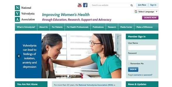 Screenshot of the NVA website