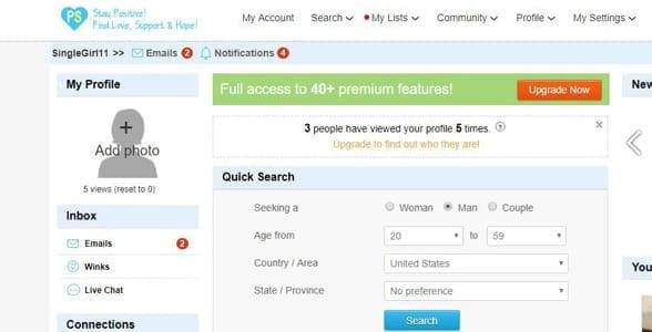 Screenshot of a PositiveSingles.com profile