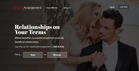 Screenshot of Seeking Arrangement's homepage