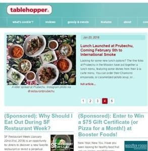 Screenshot of Tablehopper's homepage