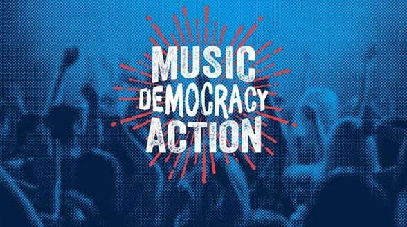 Graphic of concertgoers and the HeadCount slogan Music Democracy Action