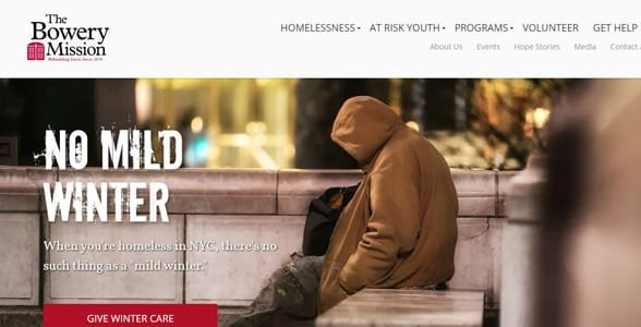Screenshot of the Bowery Mission's website