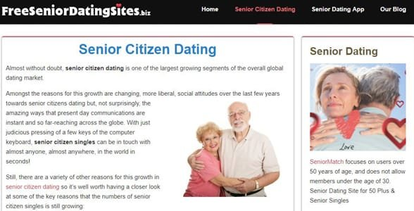 Screenshot of FreeSeniorDatingSites.biz