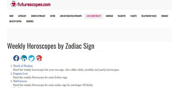 Screenshot from Futurescopes.com