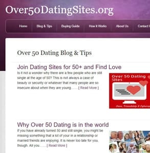 Screenshot of the Over50DatingSites.org's blog